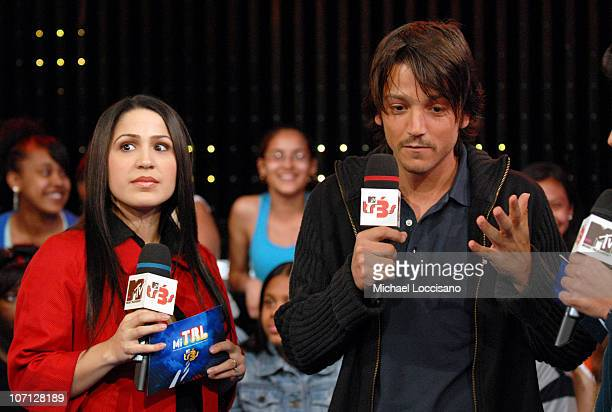 Jennifer Pena and Diego Luna during NeYo Diego Luna and Obe Visit and Jennifer Pena Guest Host MTV Tr3s' MiTRL April 24 2007 at MTV Studios Times...