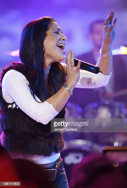 Jennifer Pena during Jennifer Pena Performs on Mi TRL February 23 2007 at TRL Studios in New York City New York United States
