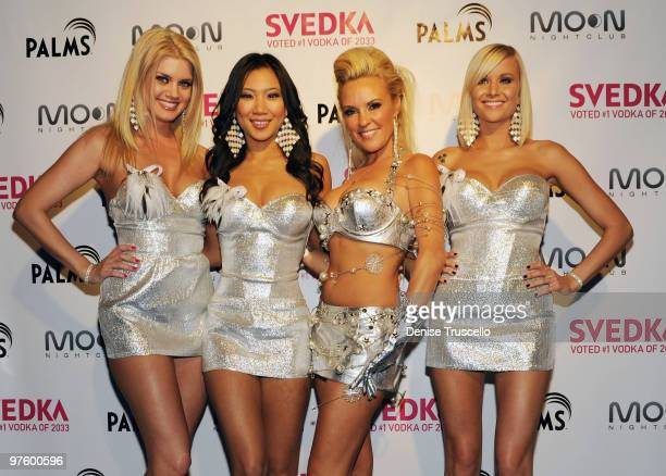 Jennifer Pershing Hiromi Oshima Brigitte Marquette and Kari Monaco arrives at the SVEDKA The Future of Nightlife party at Moon Nightclub at The Palms...