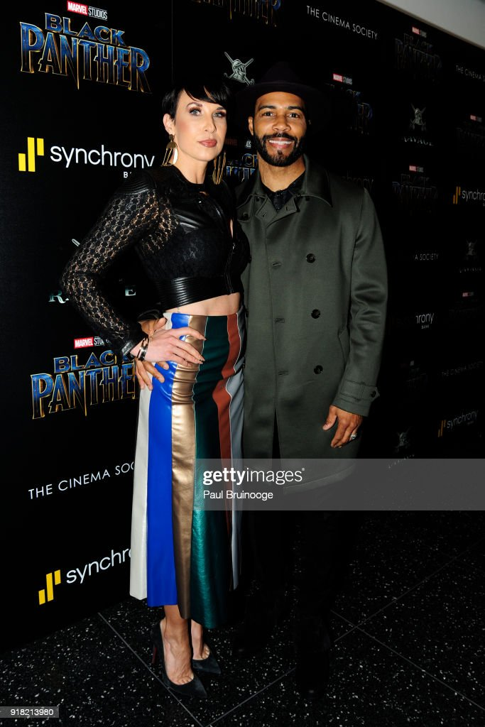 Jennifer Pfautch and Omari Hardwick attend The Cinema Society with Ravage Wines & Synchrony host a screening of Marvel Studios' 'Black Panther' at The Museum of Modern Art on February 13, 2018 in New York City.