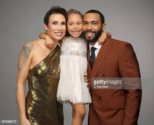 Jennifer Pfautch Omari Hardwick and daughter pose for a portrait during the 2018 American Black Film Festival Honors Awards at The Beverly Hilton...