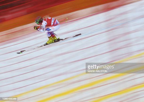 Jennifer Piot of France skis the 'Easy Street' straight during the third training run of the Audi FIS Alpine Ski World Cup Women's 2019 Downhill...