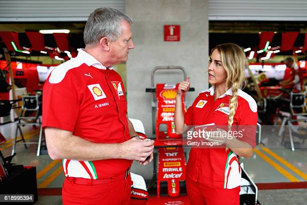 Jennifer Plueckhahn talks with Alan Wardle both of Shell during the Formula One Grand Prix of Mexico at Autodromo Hermanos Rodriguez on October 28...