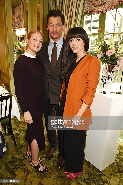 Jennifer Portman designer and founder of Bionda Castana David Gandy and Natalia Barbieri designer and founder of Bionda Castana attend the LKBennett...