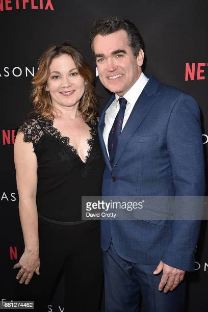 Jennifer Prescott and Brian d'Arcy James attend the Premiere Of Netflix's '13 Reasons Why' Arrivals at Paramount Pictures on March 30 2017 in Los...