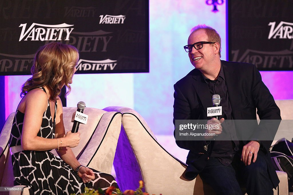 Jennifer Prince, Head of Industry, Media & Entertainment at Google (L) and Gordon Paddison of Stradella Road speak onstage during 'A Conversation With Google' panel at Variety Presents