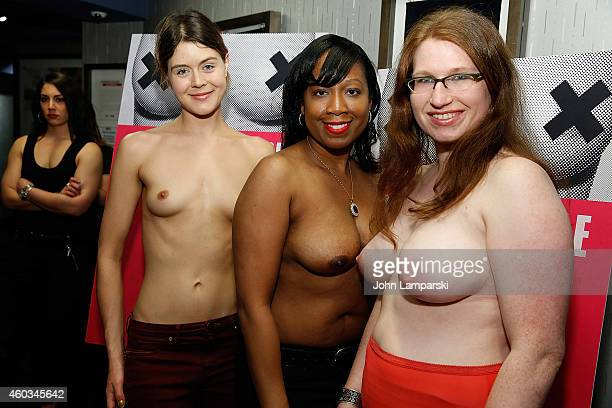 Jennifer Prince Victoria Bolton and Emily Newhouse attend 'Free The Nipple' New York Premiere at IFC Center on December 11 2014 in New York City