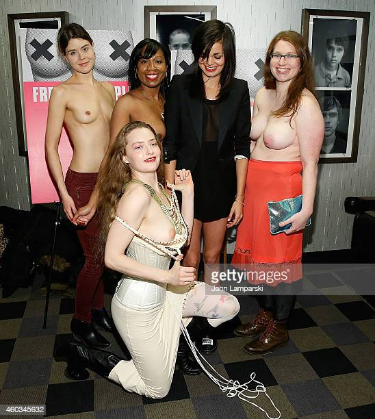 Jennifer Prince Victoria Bolton Director Lina Esco Emily Newhouse and Sarah Beth Stroller attend 'Free The Nipple' New York Premiere at IFC Center on...