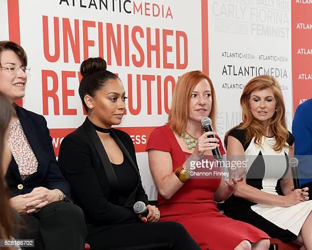 Jennifer Psaki White House Communications Director speaking at the Atlantic Media breakfast on women fairness and power on April 30 2016 in...