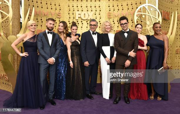 Jennifer Robertson Dustin Milligan Annie Murphy Sarah Levy Eugene Levy Catherine O'Hara Dan Levy Emily Hampshire and Karen Robinson attend the 71st...