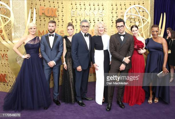 Jennifer Robertson Sarah Levy Dustin Milligan Catherine O'Hara Annie Murphy Eugene Levy Dan Levy Emily Hampshire and Karen Robinson attend the 71st...