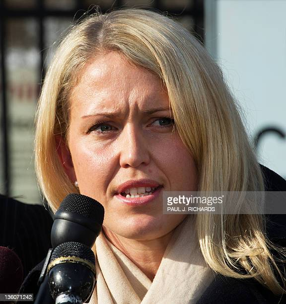 Jennifer Robinson attorney for Wiki Leaks' Julian Assange delivers remarks to the media December 22 at the Gates to Fort Meade Maryland at the close...