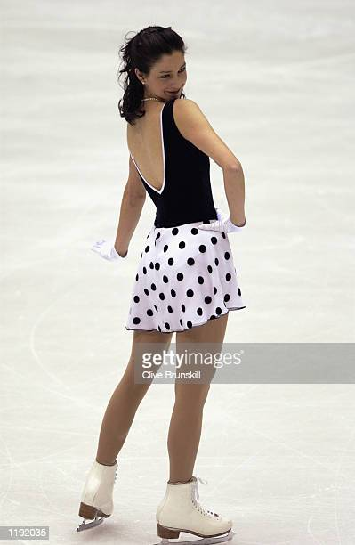 Jennifer Robinson of the USA competes in the ladies short program during the Salt Lake City Winter Olympic Games on the February 19 2002 at the Salt...