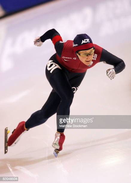 Jennifer Rodriguez competes in the 500 meter event January 22 2005 during the World Sprint Speed Skating Championships at the Utah Olympic Oval in...