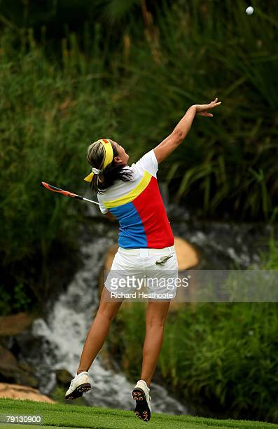 Jennifer Rosales of The Philippines celebrates victory on the 18th green during the final round of the Women's World Cup of Golf at The Gary Player...