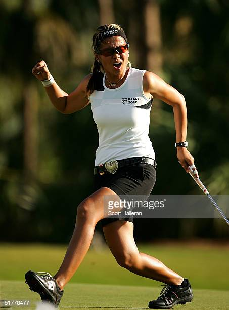 Jennifer Rosales watches a birdie putt miss on the 16th green during the third round of ADT Championship at the Trump International Golf Club on...