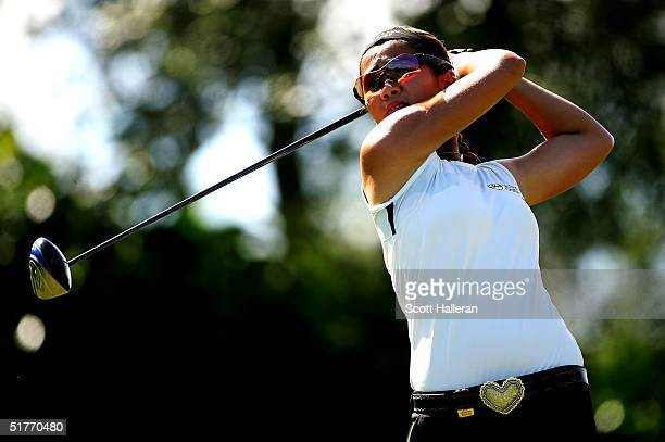 Jennifer Rosales watches her tee shot on the fourth hole during the third round of ADT Championship at the Trump International Golf Club on November...