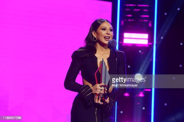Jennifer Ruiz accepts award onstage during the 2nd Annual American Influencer Awards at Dolby Theatre on November 18 2019 in Hollywood California