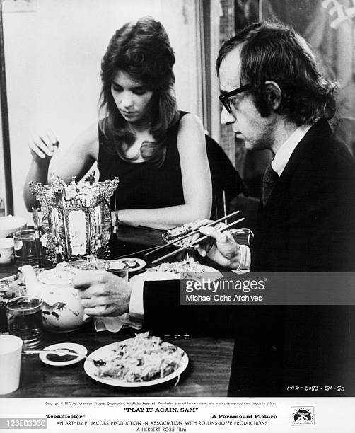 Jennifer Salt and Woody Allen eating Asian food in a scene from the film 'Play It Again Sam' 1972
