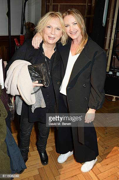Jennifer Saunders and Anya Hindmarch attends the Anya Hindmarch AW16 show on February 21 2016 in London England
