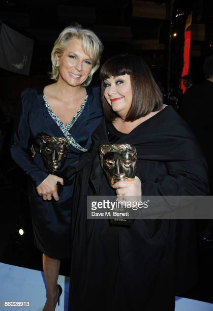 Jennifer Saunders and Dawn French with their Fellowship Awards attend the BAFTA Television Awards 2009 at the Royal Festival Hall on April 26 2009 in...