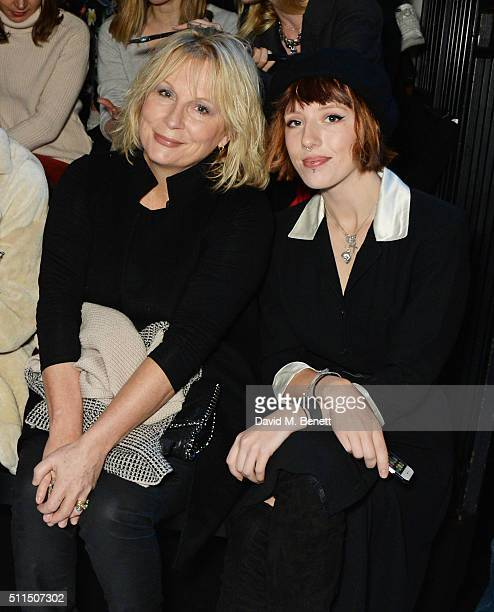 Jennifer Saunders and Freya Edmondson attend the Anya Hindmarch AW16 show on February 21, 2016 in London, England.