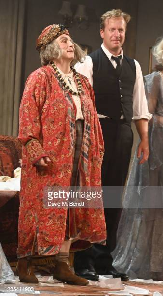 """Jennifer Saunders and Geoffrey Streatfeild take the curtain call at the press night performance of """"Blithe Spirit"""" at The Harold Pinter Theatre on..."""
