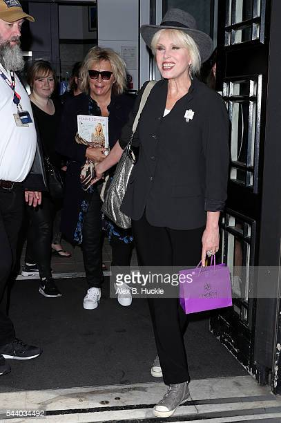 Jennifer Saunders and Joanna Lumley seen leaving the BBC Radio 2 Studios on July 1 2016 in London England