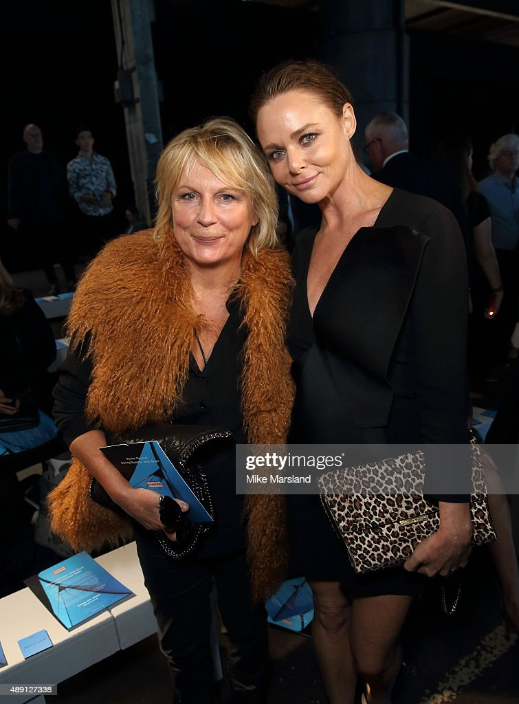 Jennifer Saunders and Stella McCartney attend the Hunter show during London Fashion Week Spring/Summer 2016/17 on September 19, 2015 in London, England.