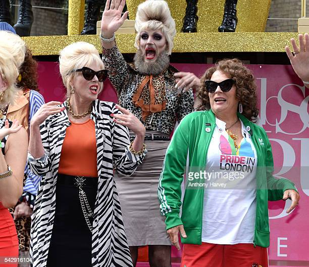 Jennifer Saunders as Eddie and Joanna Lumley as Patsy the stars of 'Absolutely Fabulous The Movie' attend Pride on June 25 2016 in London England