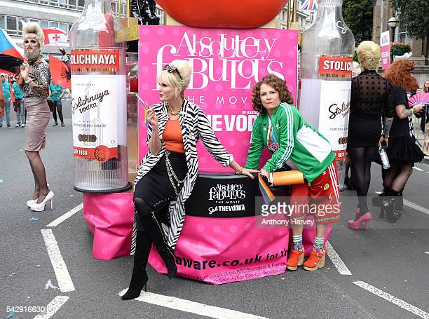 Jennifer Saunders as Eddie and Joanna Lumley as Patsy the stars of Absolutely Fabulous The Movie attend Pride on June 25 2016 in London England