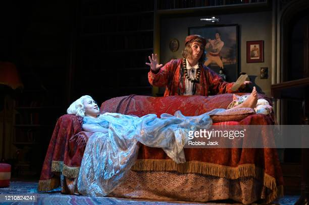 Jennifer Saunders as Madame Arcati and Emma Naomi as Elvira in Noel Coward's Blithe Spirit directed by Richard Eyre at The Duke Of York's Theatre on...