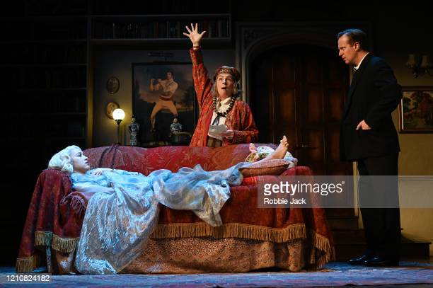 Jennifer Saunders as Madame Arcati, Emma Naomi as Elvira and Geoffrey Streatfield as Charles in Noel Coward's Blithe Spirit directed by Richard Eyre...