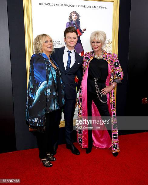 Jennifer Saunders Chris Colfer and Joanna Lumley attend Absolutely Fabulous The Movie New York Premiere at SVA Theater on July 18 2016 in New York...