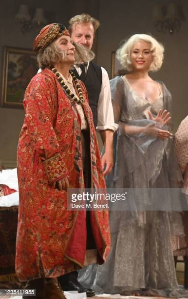 """Jennifer Saunders, Geoffrey Streatfeild and Madeleine Mantock take the curtain call at the press night performance of """"Blithe Spirit"""" at The Harold..."""