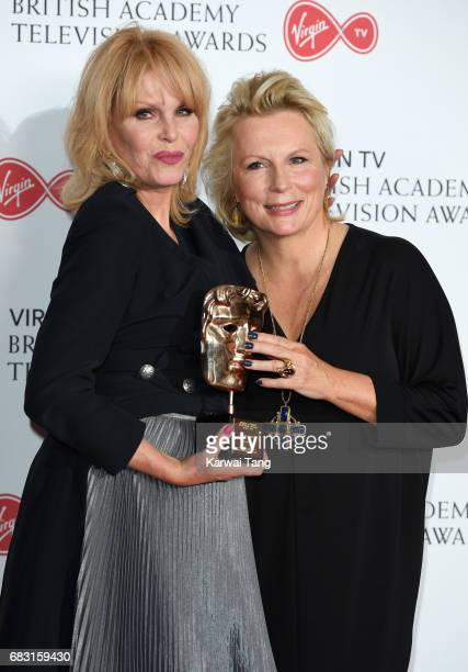 Jennifer Saunders with Joanna Lumley winner of the BAFTA Fellowship Award in the Winner's room at the Virgin TV BAFTA Television Awards at The Royal...