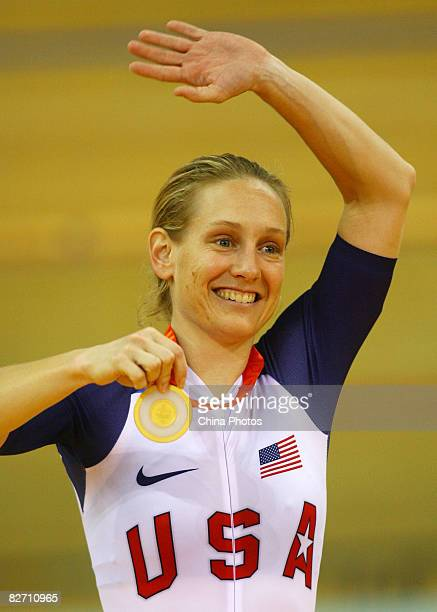 Jennifer Schuble of the USA cheers after winning the women's 500 meters time trial during the Track Cycling event at the Laoshan Velodrome during day...