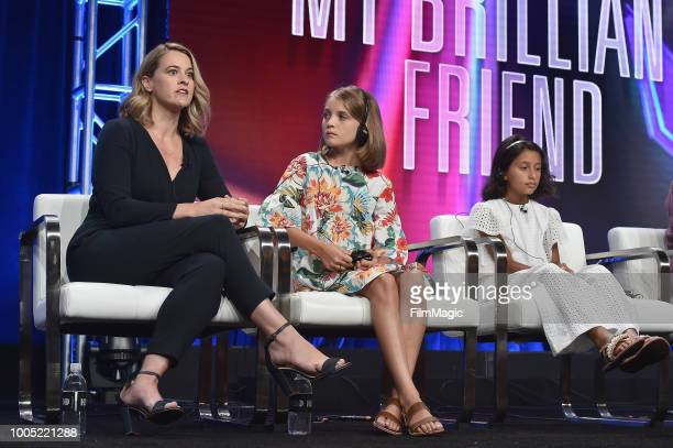 Jennifer Schuur Elisa Del Genio and Ludovica Nasti speak onstage at HBO Summer TCA 2018 at The Beverly Hilton Hotel on July 25 2018 in Beverly Hills...