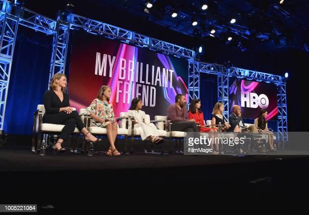 Jennifer Schuur Elisa Del Genio Ludovica Nasti Saverio Costanzo Gaia Girace Margherita Mazzucco Lorenzo Mieli and translator speak onstage at HBO...