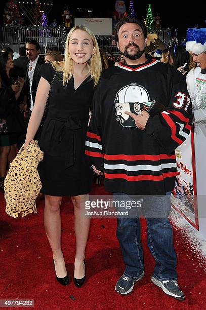 Jennifer Schwalbach Smith and Kevin Smith arrive at the premiere for Columbia Pictures' The Night Before at The Theatre at The Ace Hotel on November...