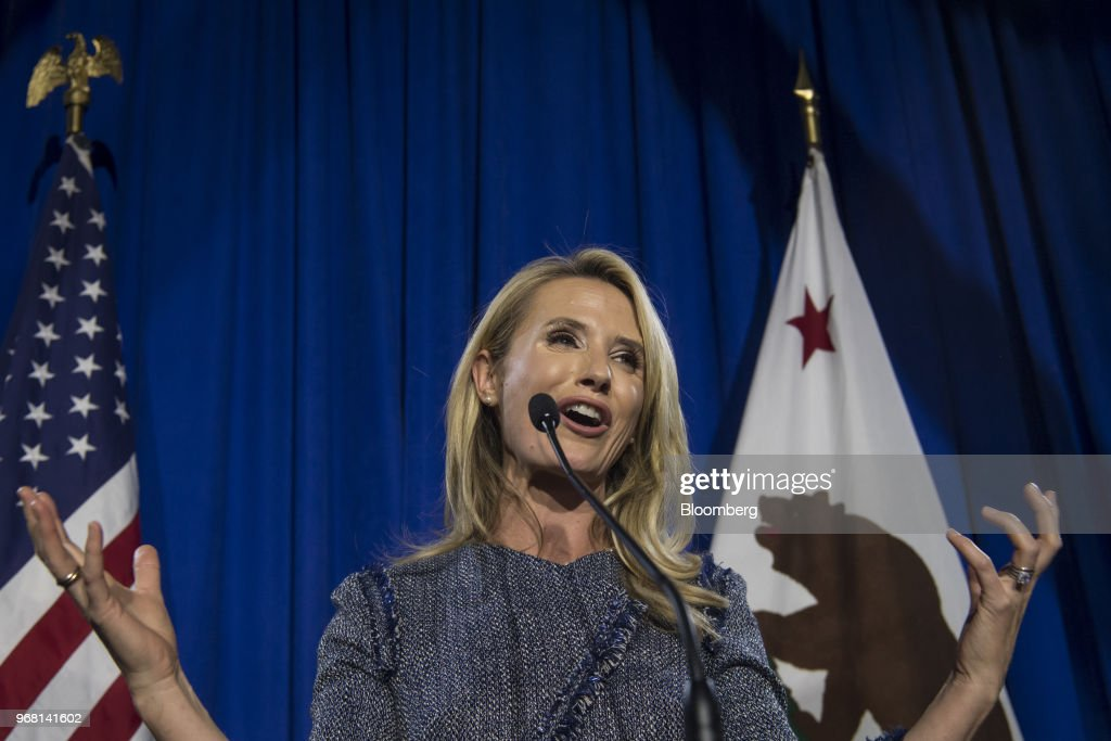 Jennifer Siebel Newsom, wife of Democratic candidate for California Governor Gavin Newsom, speaks during a primary election watch party in San Francisco, California, U.S., on Tuesday, June 5, 2018. Lieutenant GovernorNewsomand Republican businessman John Cox won the most votes in Californias gubernatorial primary, advancing to a general election that will test the states position as leader of the resistance to PresidentDonald Trump. Photographer: David Paul Morris/Bloomberg via Getty Images