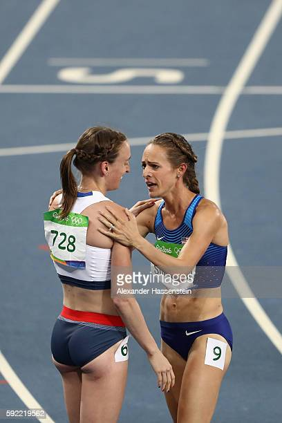 Jennifer Simpson of the United States celebrates with Laura Weightman of Great Britain after competing during the Women's 1500m Final on Day 11 of...
