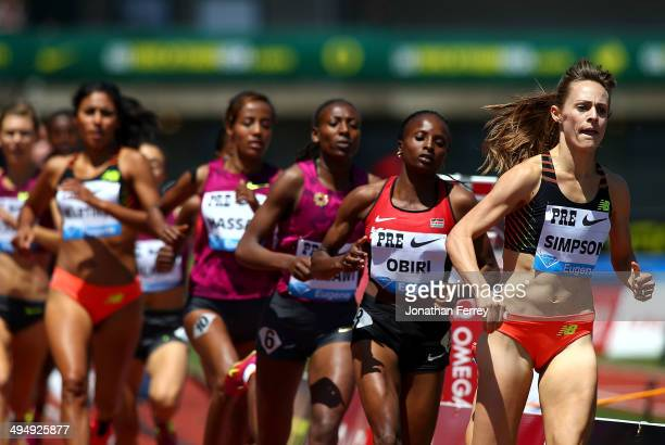 Jennifer Simpson of the United States runs the 1500m during day 2 of the IAAF Diamond League Nike Prefontaine Classic on May 31 2014 at the Hayward...