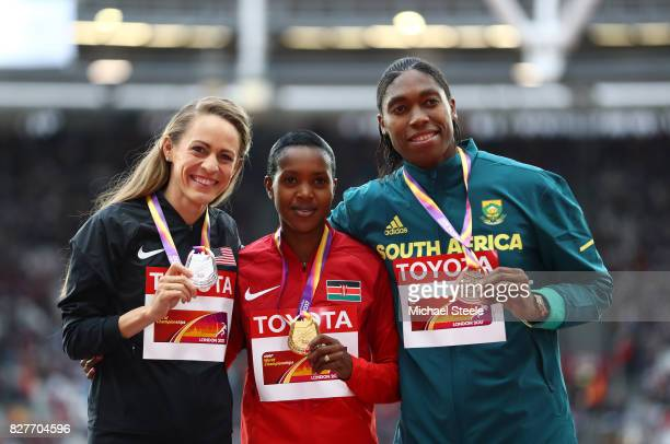Jennifer Simpson of the United States silver Faith Chepngetich Kipyegon of Kenya gold and Caster Semenya of South Africa bronze pose with their...
