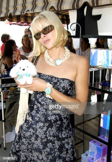 Jennifer Sky with a stuffed dog by Fifi Romeo during The Cabana Beauty Buffet Day 1 at The Chateau Marmont Hotel in Los Angeles California United...