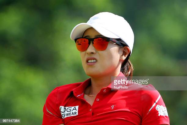 Jennifer Song of Orlando FL follows her shot from the 15th tee during the first round of the Marathon LPGA Classic golf tournament at Highland...
