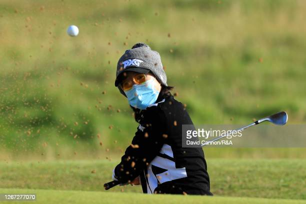 Jennifer Song of The United States plays a shot out of the 6th greenside bunker during Day One of the 2020 AIG Women's Open at Royal Troon on August...
