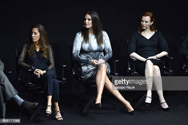 Jennifer Starr Candice Huffine and Karen Elson attend the 2015 Pirelli Calendar Press Conference on November 18 2014 in Milan Italy