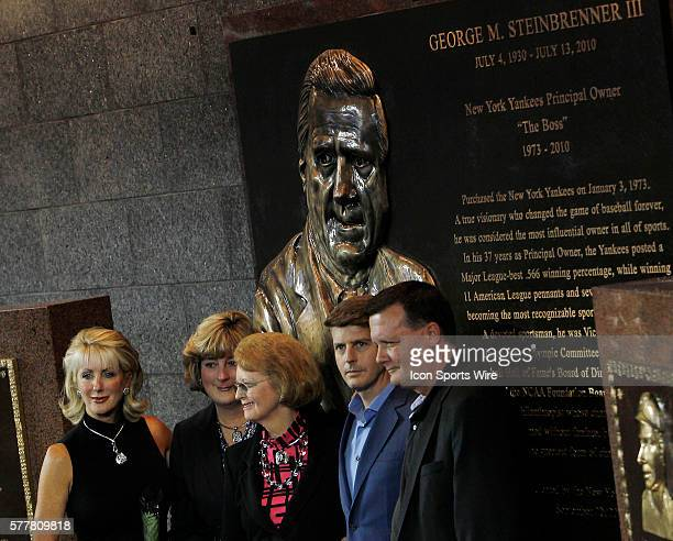Jennifer Steinbrenner Swindal Jessica Steinbrenner Joan Steinbrenner Hal Steinbrenner and Hank Steinbrenner pose with a plaque in memory of George...