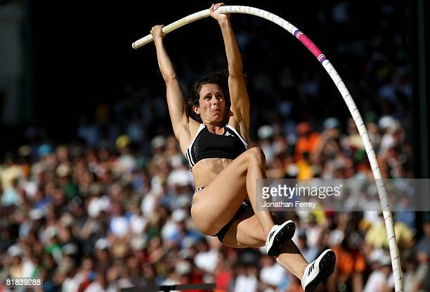 Jennifer Stuczynski competes en route to winning the gold medal in the women's pole vault final during day eight of the US Track and Field Olympic...